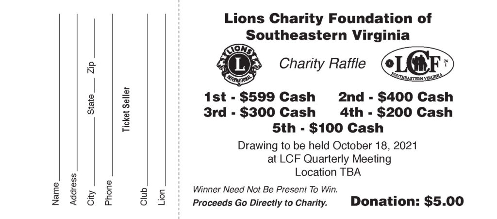 WIN $599 in LCF 2021 Raffle DRAWING Oct 18, 2021